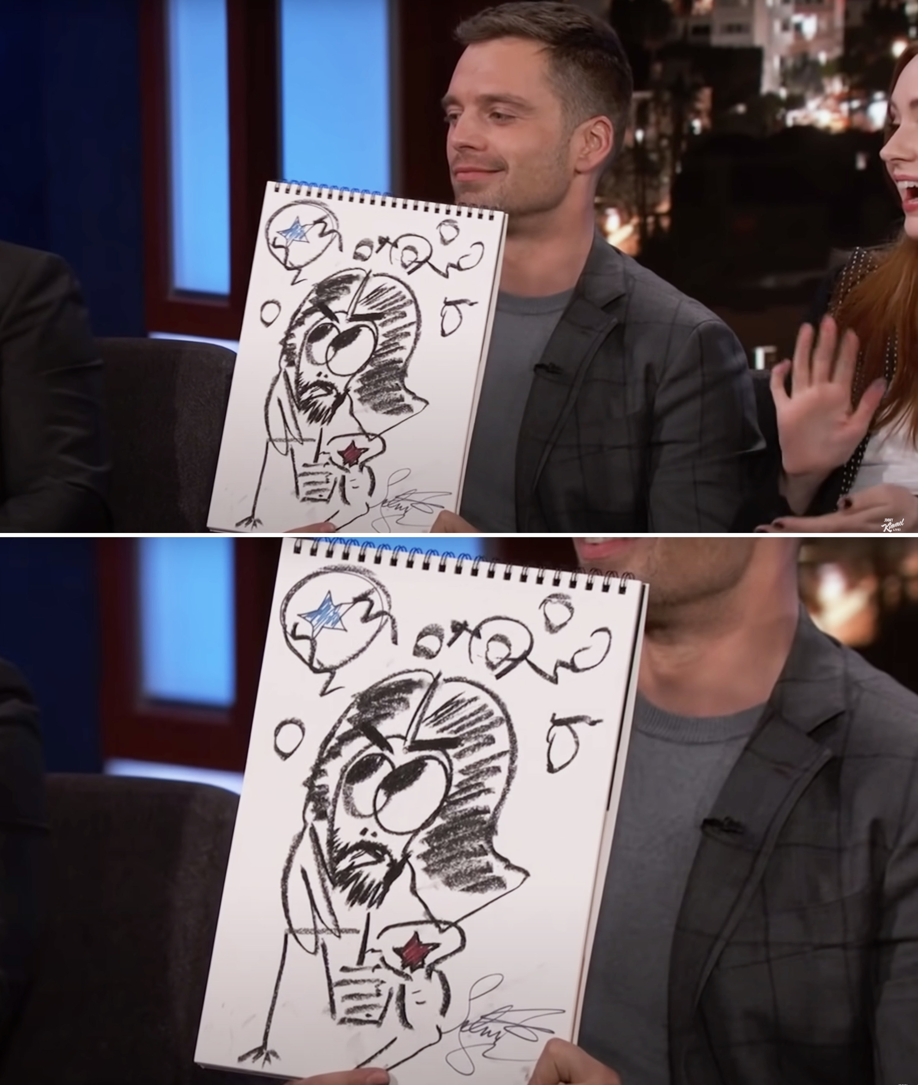 Sebastian holding up his drawing of Bucky and smiling