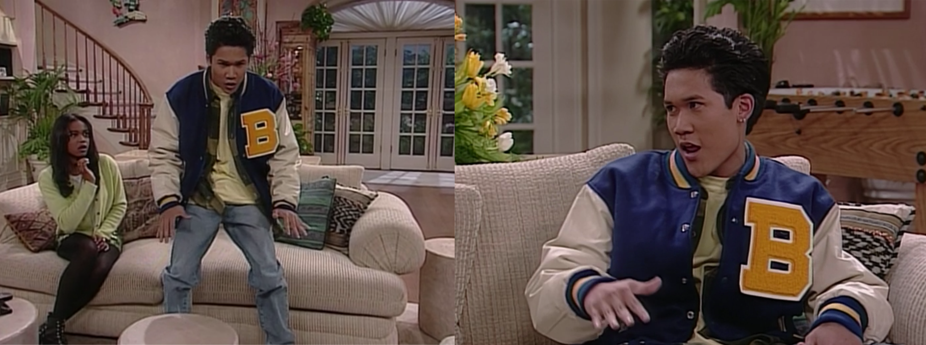 two photos of Dante Basco as Kevin in The Fresh Prince of Bel Air on a beige couch