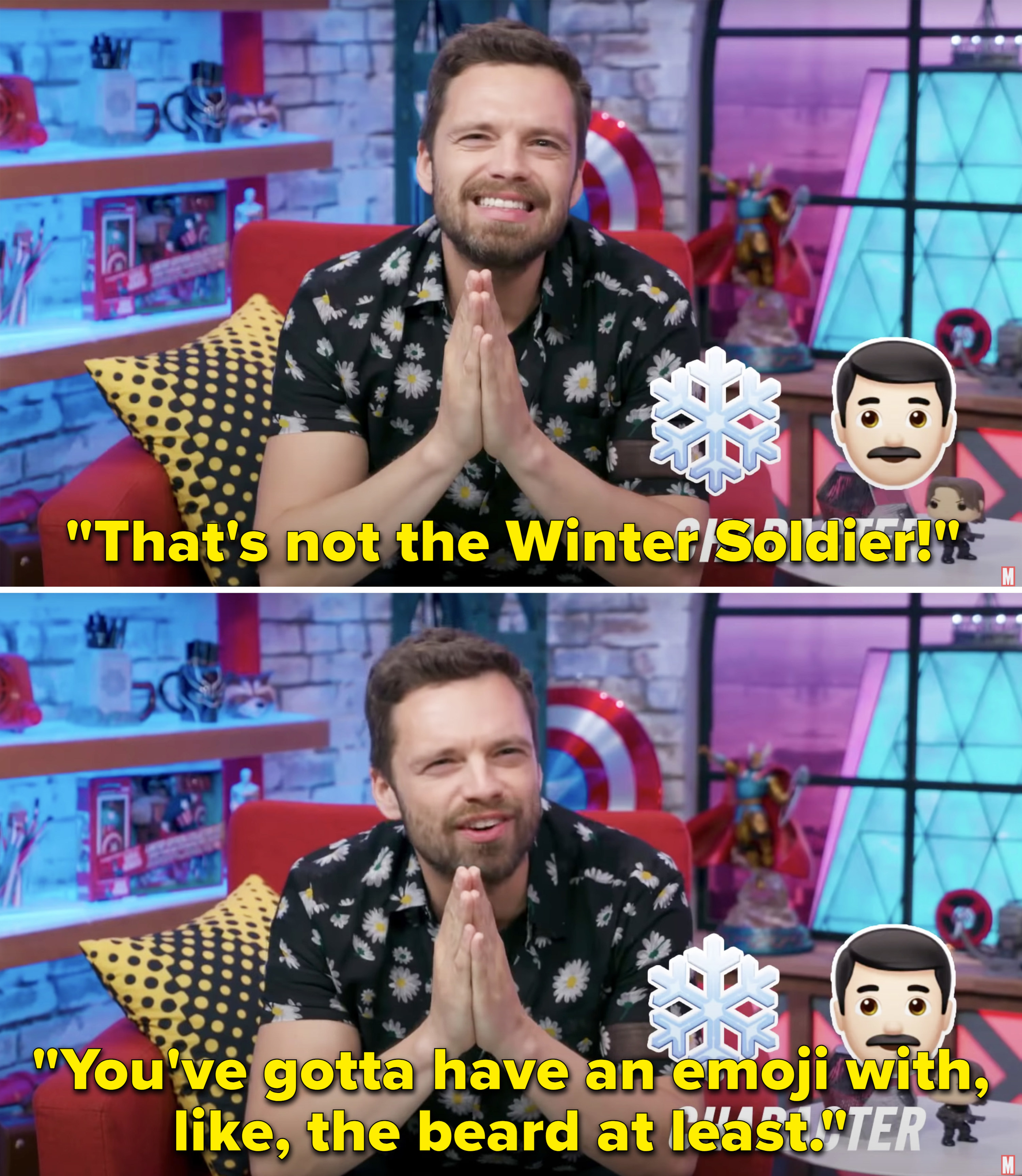 """Sebastian saying, """"That's not the Winter Solder! You've gotta have an emoji with, like, the beard at least"""""""