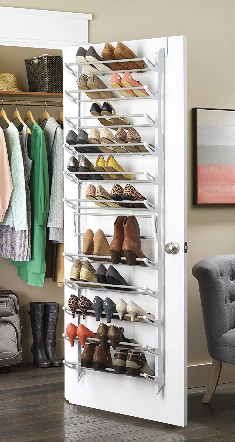 The over-the-door hanger in white that can hold 36 pairs of shoes