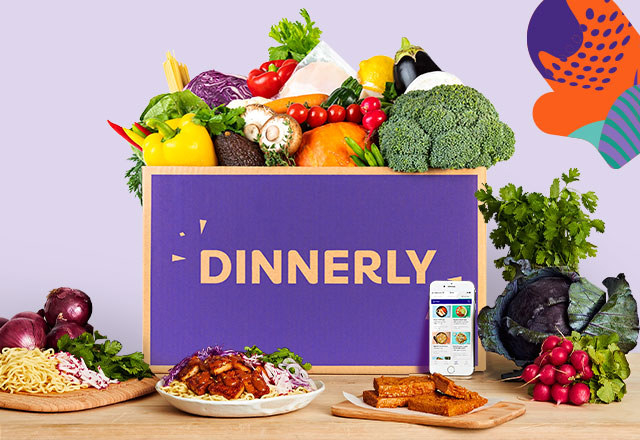 a purple dinnerly box filled with produce
