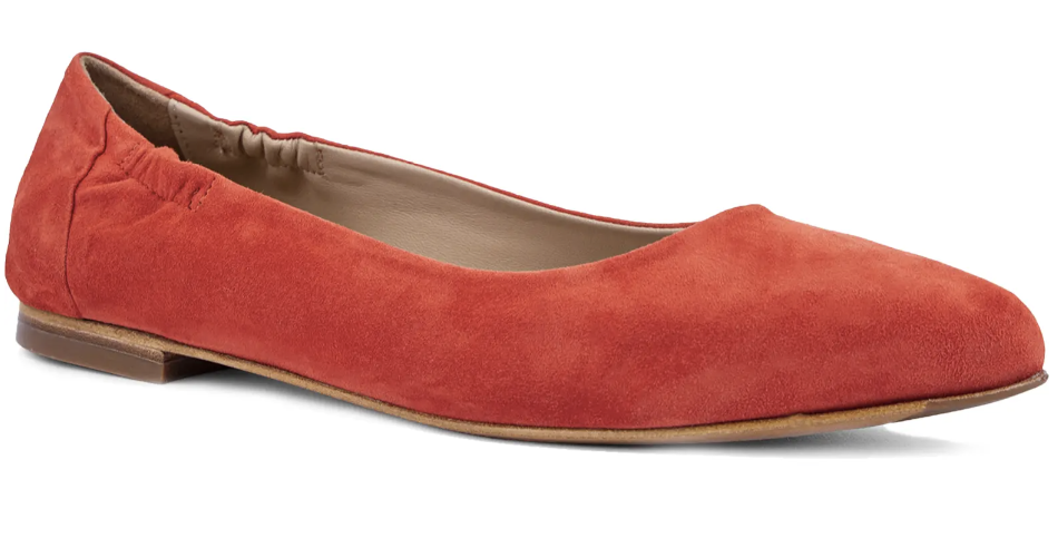 red pointed toe ballet flat