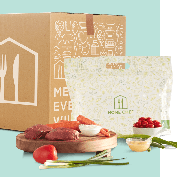 An example home chef subscription box with produce and meat