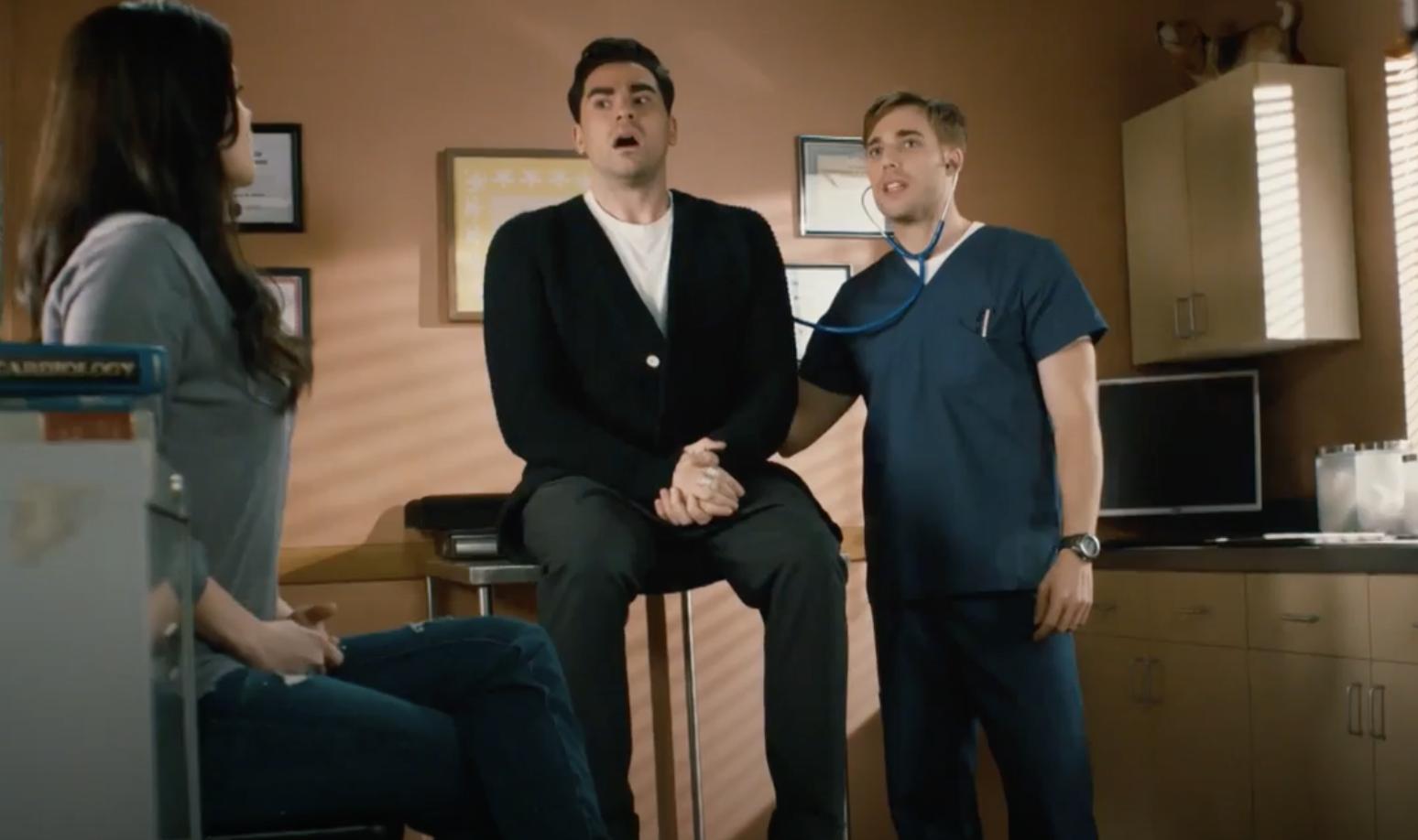 Dustin and Dan in a doctor's office scene