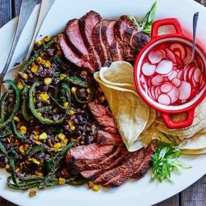 a plate of chili-rubbed steak fajitas