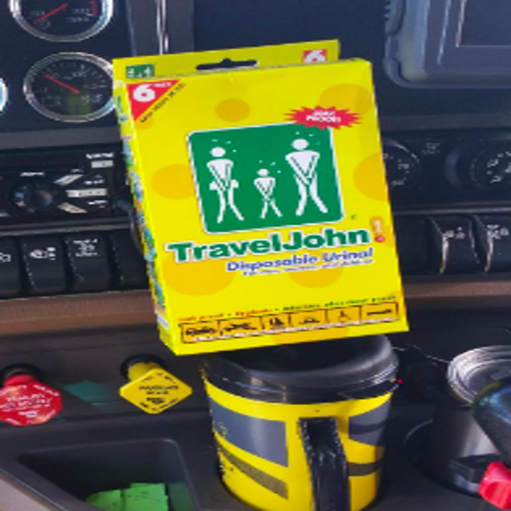 Reviewer image of the Travel John packaging inside their car