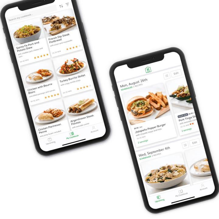 two smartphones with the home chef app pulled up showing weekly menus