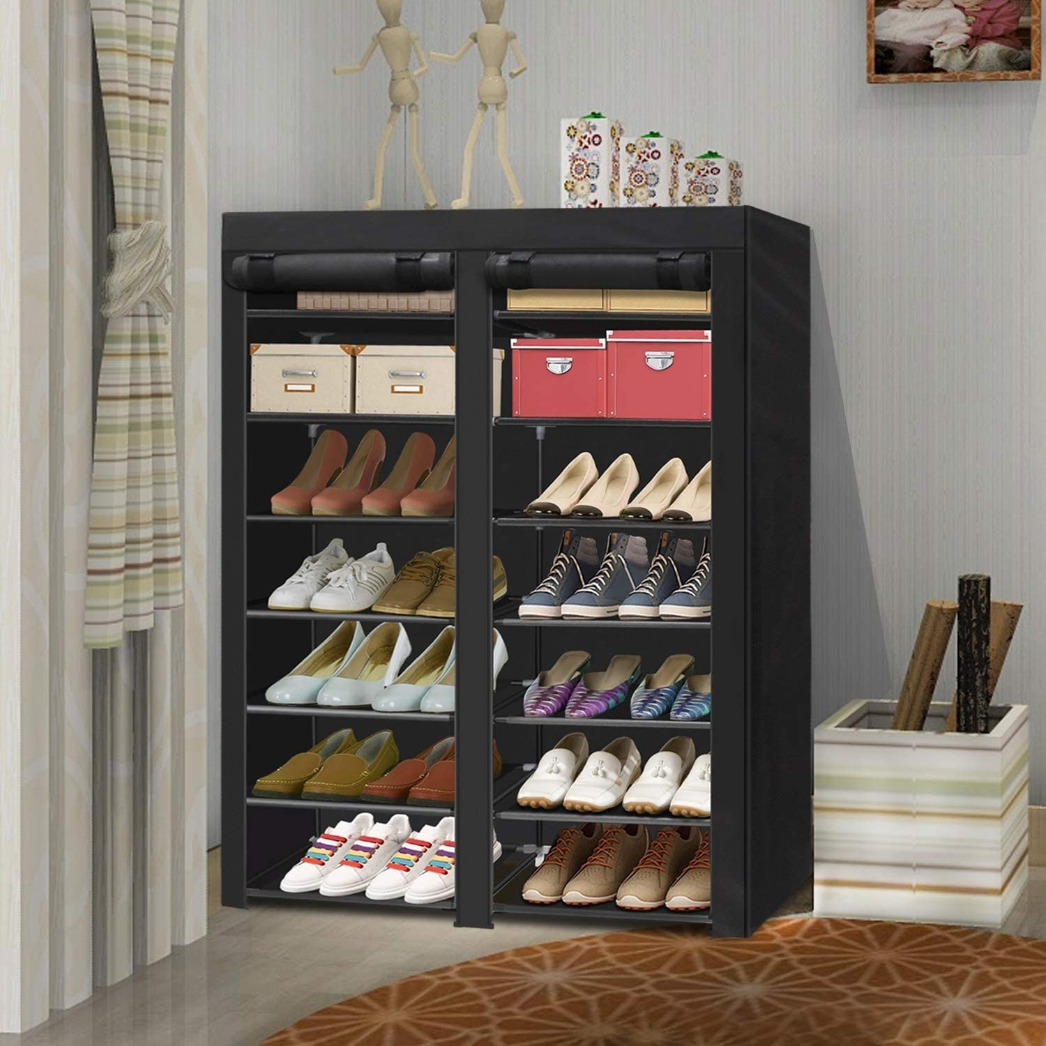 The black shoe organizer with a black covering on the front for easy hiding
