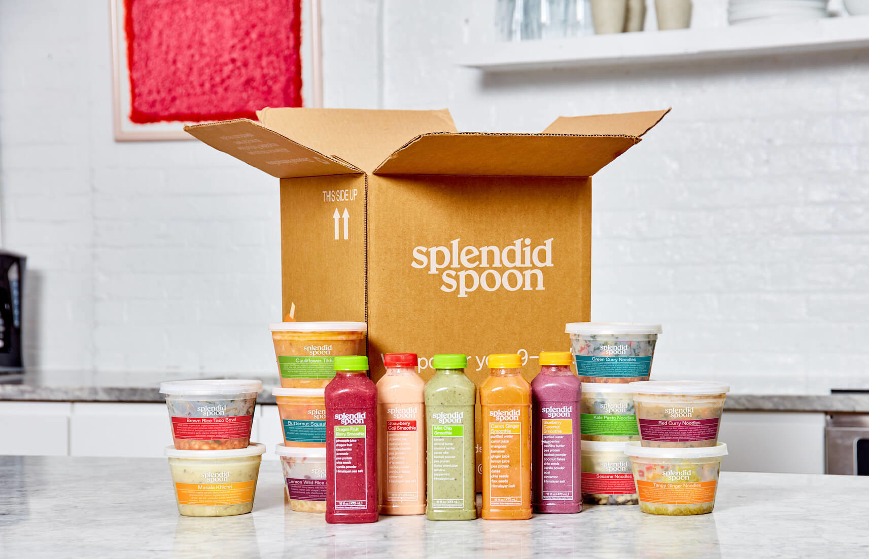 a splendid spoon box with smoothies and soups