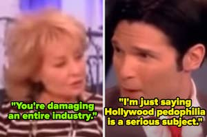 """Barbara Walters telling Corey Feldman he's """"damaging an entire industry"""" when he revealed he was a victim of pedophilia in Hollywood"""