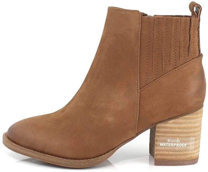 ankle boot with stacked wood heel look