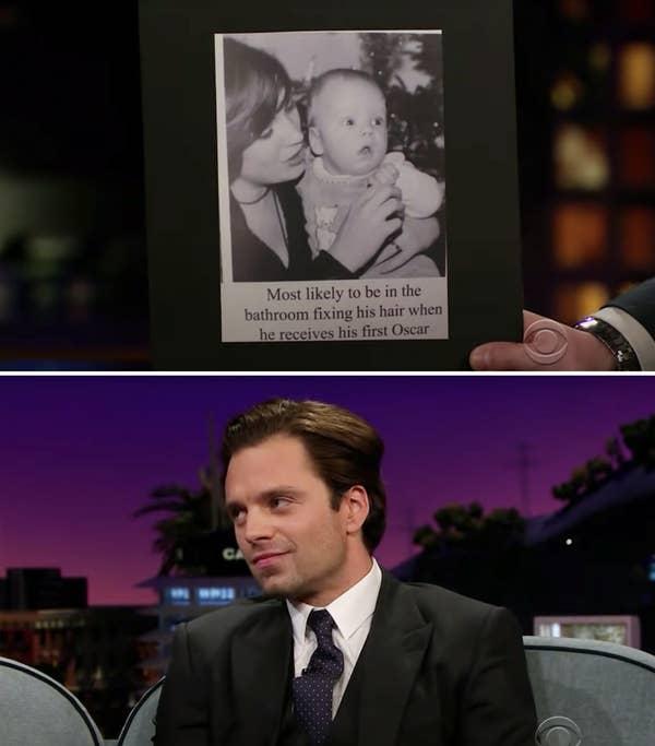 A baby photo of Sebastian and Sebastian now smiling