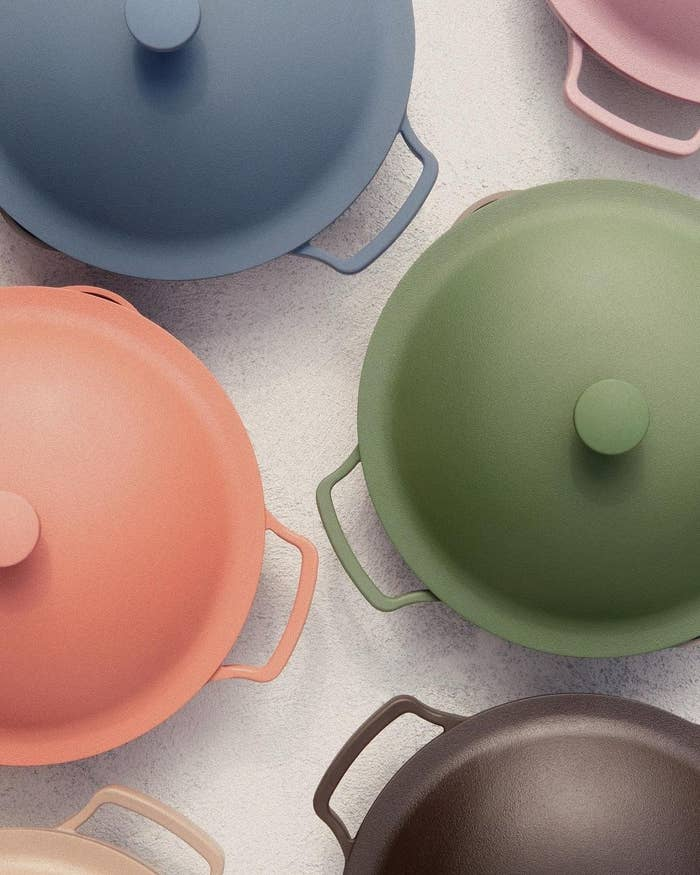 the pans in different colors