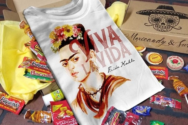 a T-shirt with Frida Kahlo on it surrounded by Mexican candies