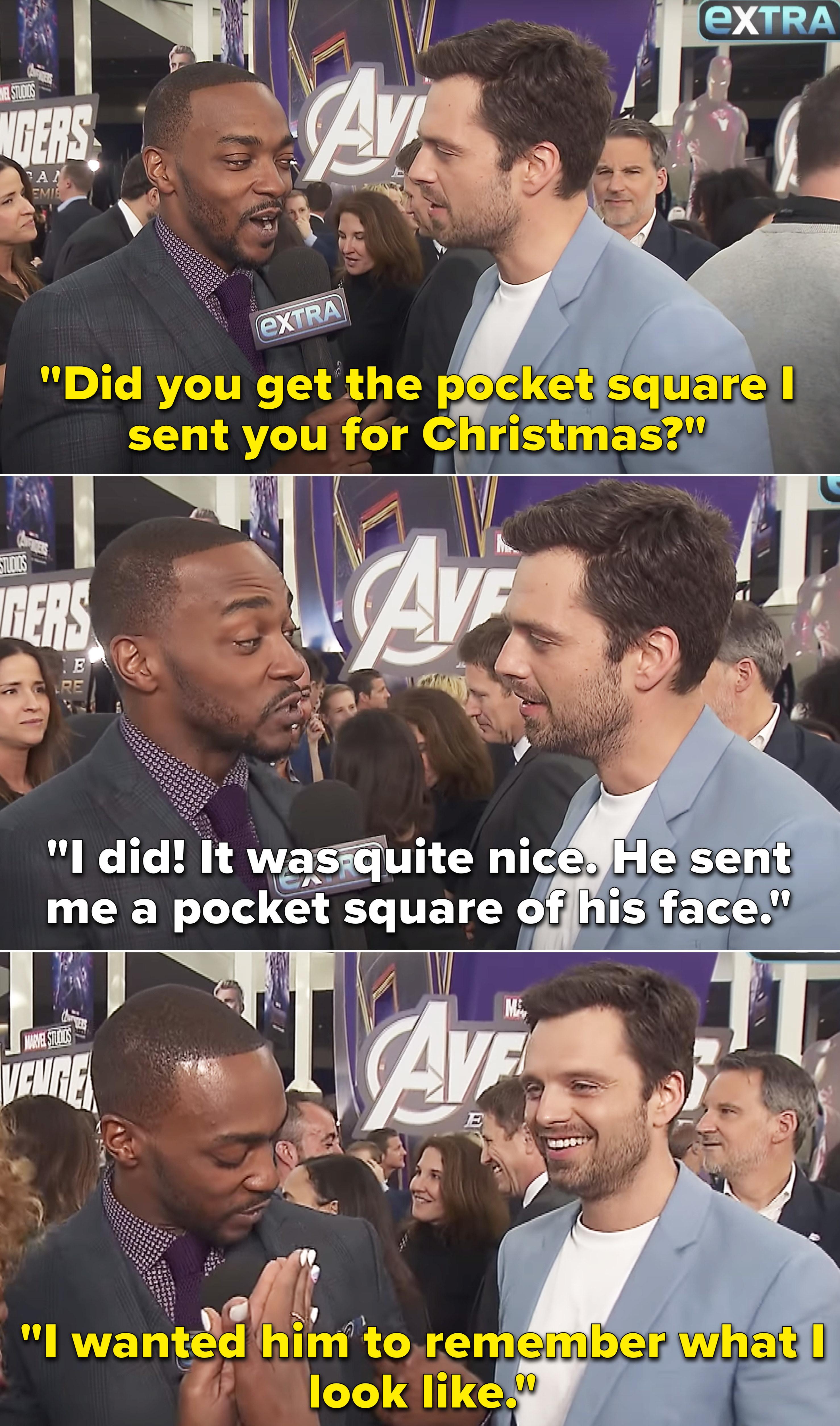 Sebastian asking Anthony if he got the pocket square he sent him for Christmas