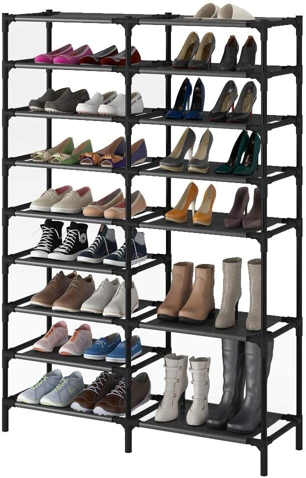 The tiered shoe rack with simulated shoes to under the space available