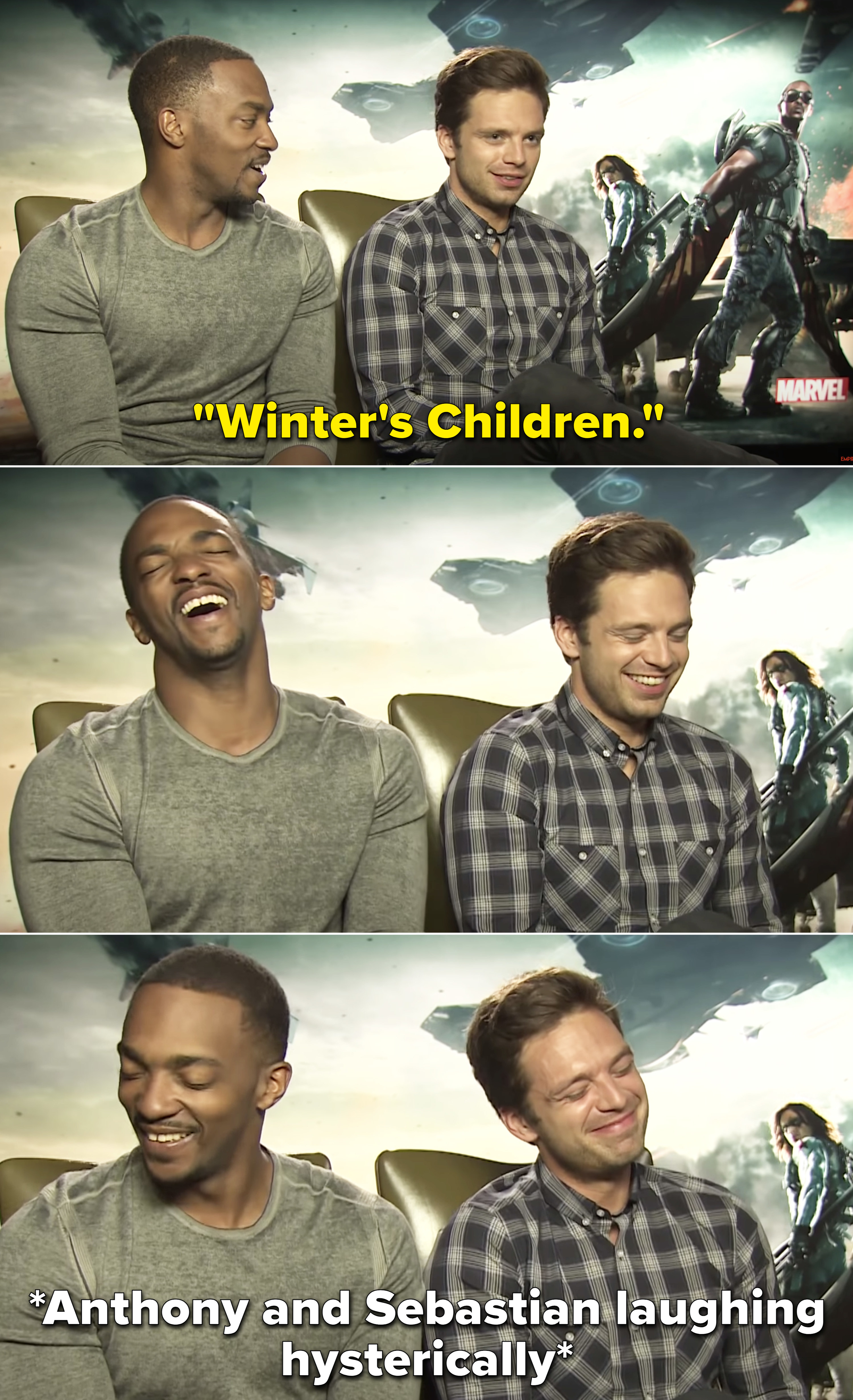 """Sebastian saying, """"Winter's Children"""" and laughing with Anthony"""