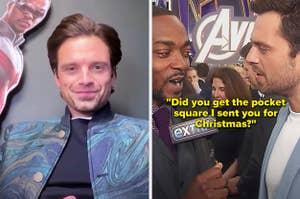 "Sebastian saying, ""Did you get the pocket square I sent you for Christmas?"""