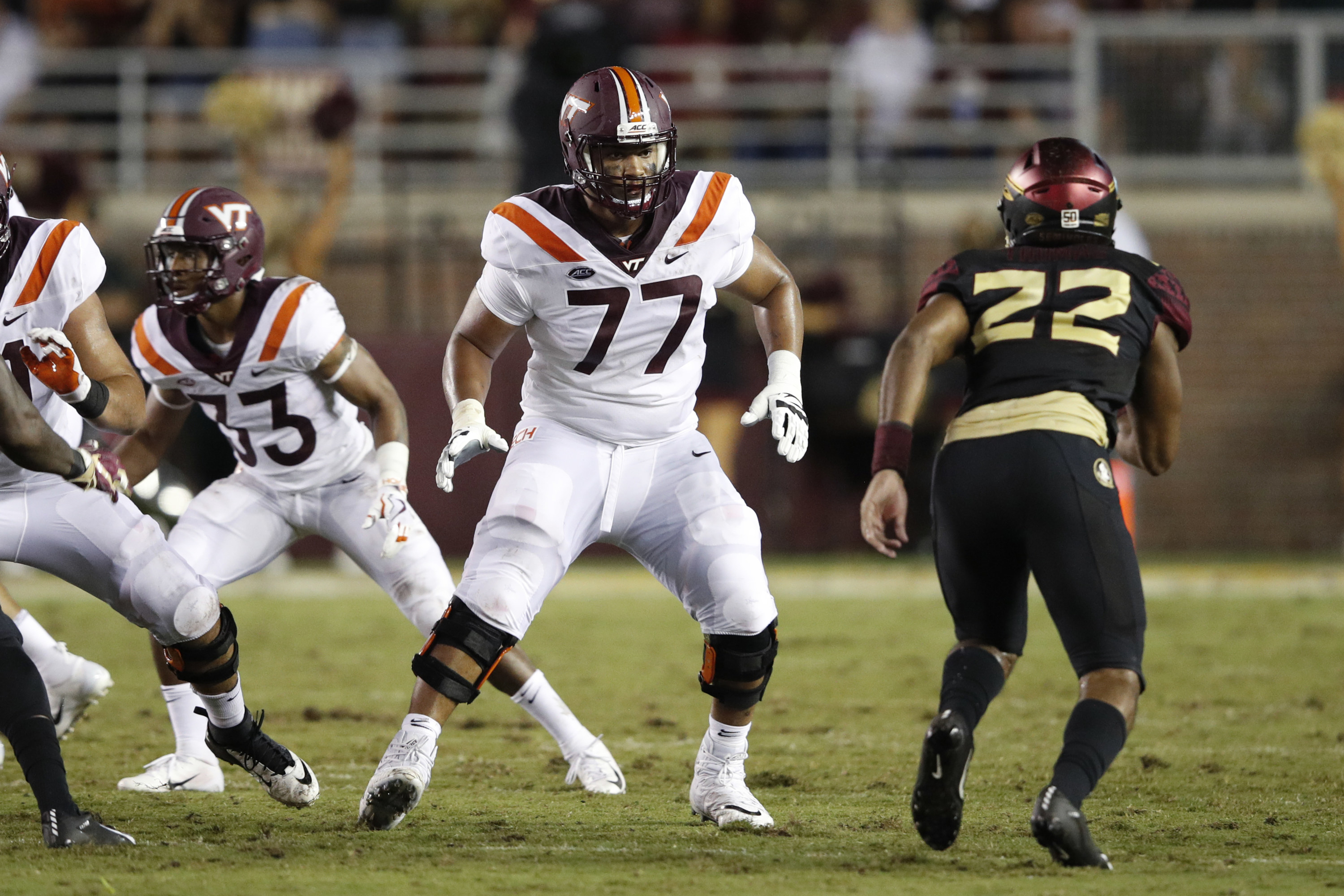 Virginia Tech's Christian Darrisaw blocking on offensive line