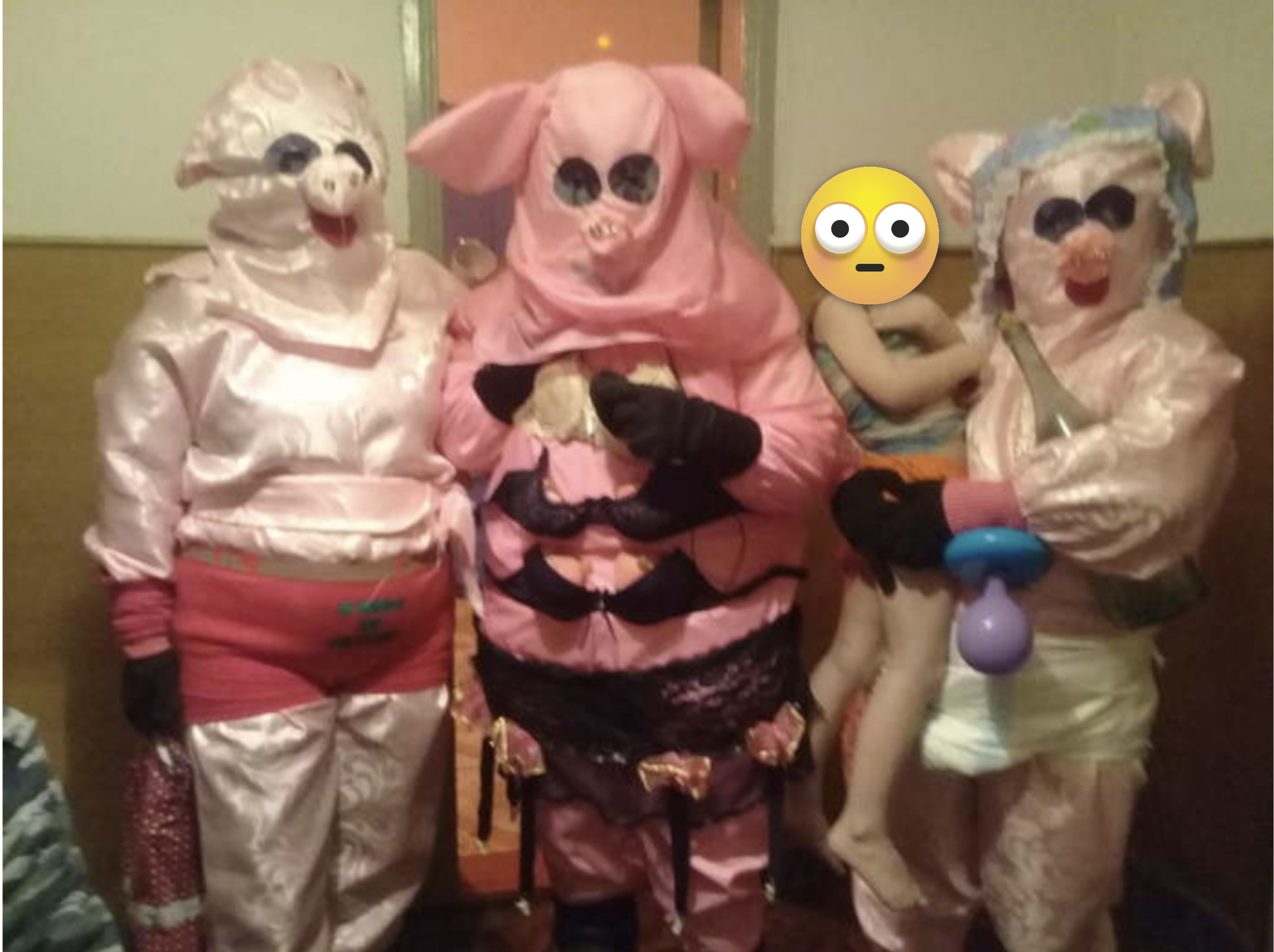 The entertainers are dressed as pigs and it is scary, seriously