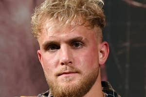 Jake Paul at a boxing match press conference in March 2021