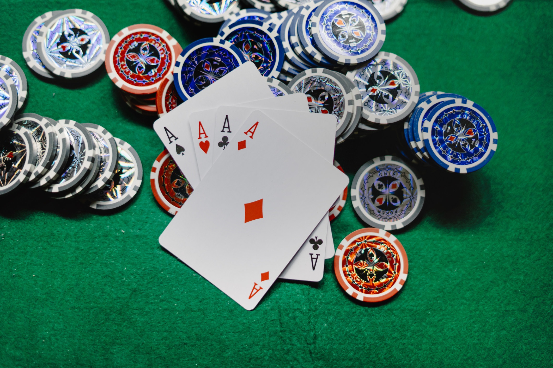 Cards and chips on a casino table