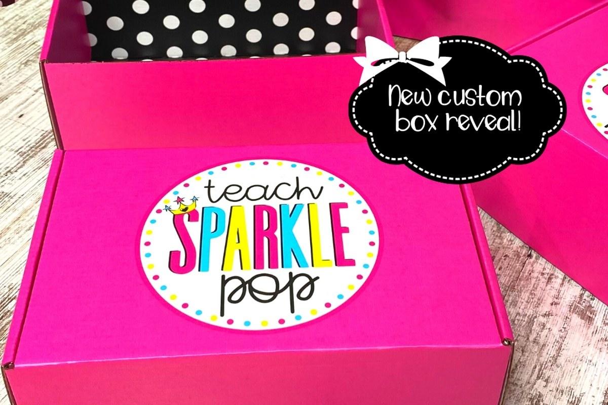 a pink Teach Sparkle pop box