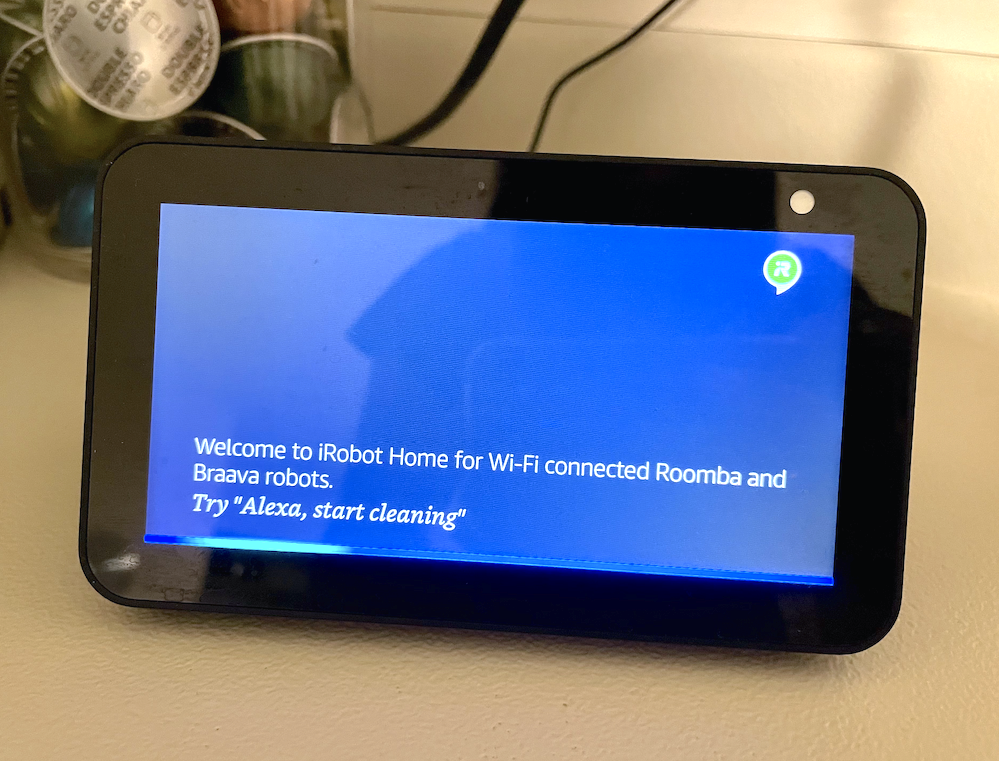 May's Alexa with a message saying welcome to irobot home for wi-fi connected roomba and braava robots