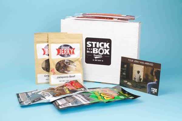 the beef jerky box wit four bags of jerky