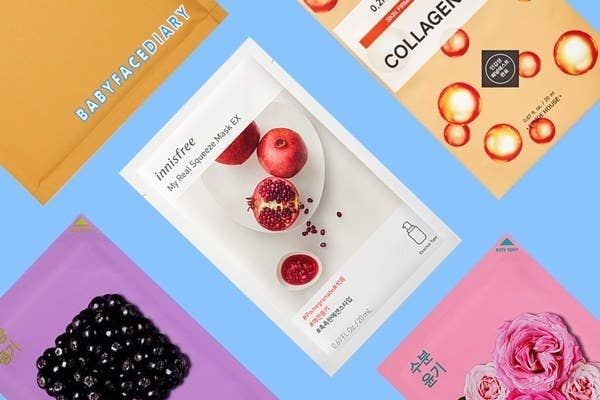 a collagen sheet mask, a blackberry sheet mask, and two other sheet masks