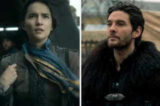 Side by side stills of Alina and the Darkling in Shadow and Bone