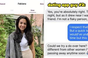 The author texting with a dating prospect