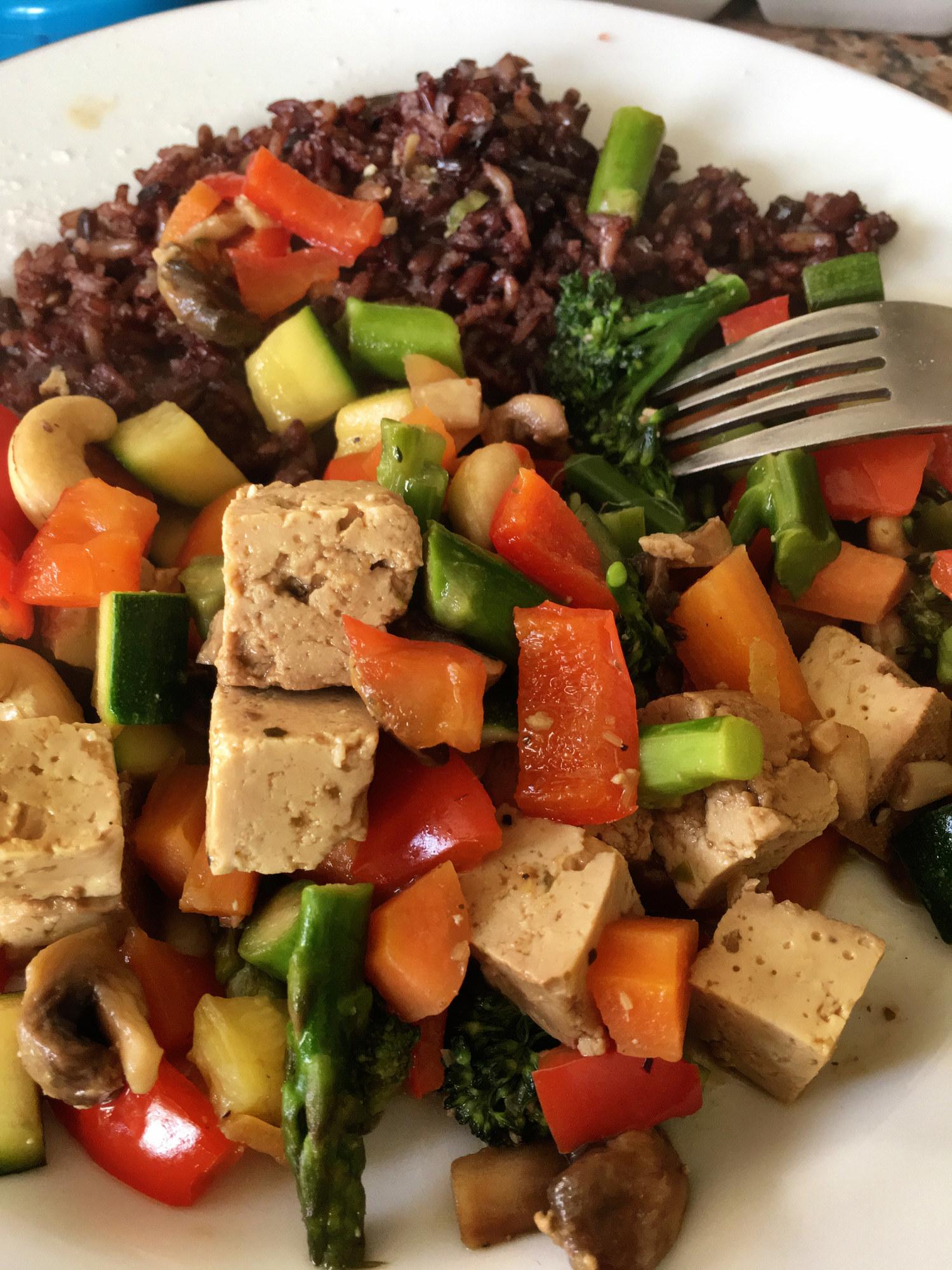 Tofu stir-fry with vegetables.