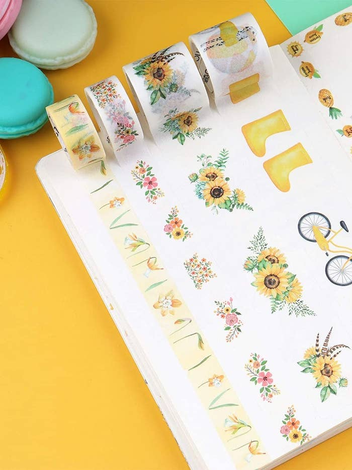 Washi tapes with floral and pineapple designs.