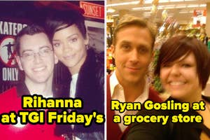 rihanna at tgifridays and ryan gosling at a grocery store