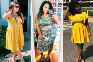 A model wearing a yellow dress / A reviewer in a two piece set / A reviewer in a yellow dress