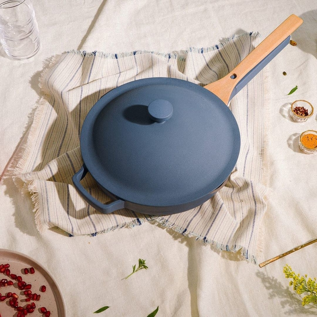 blue pan with beechwood spatula