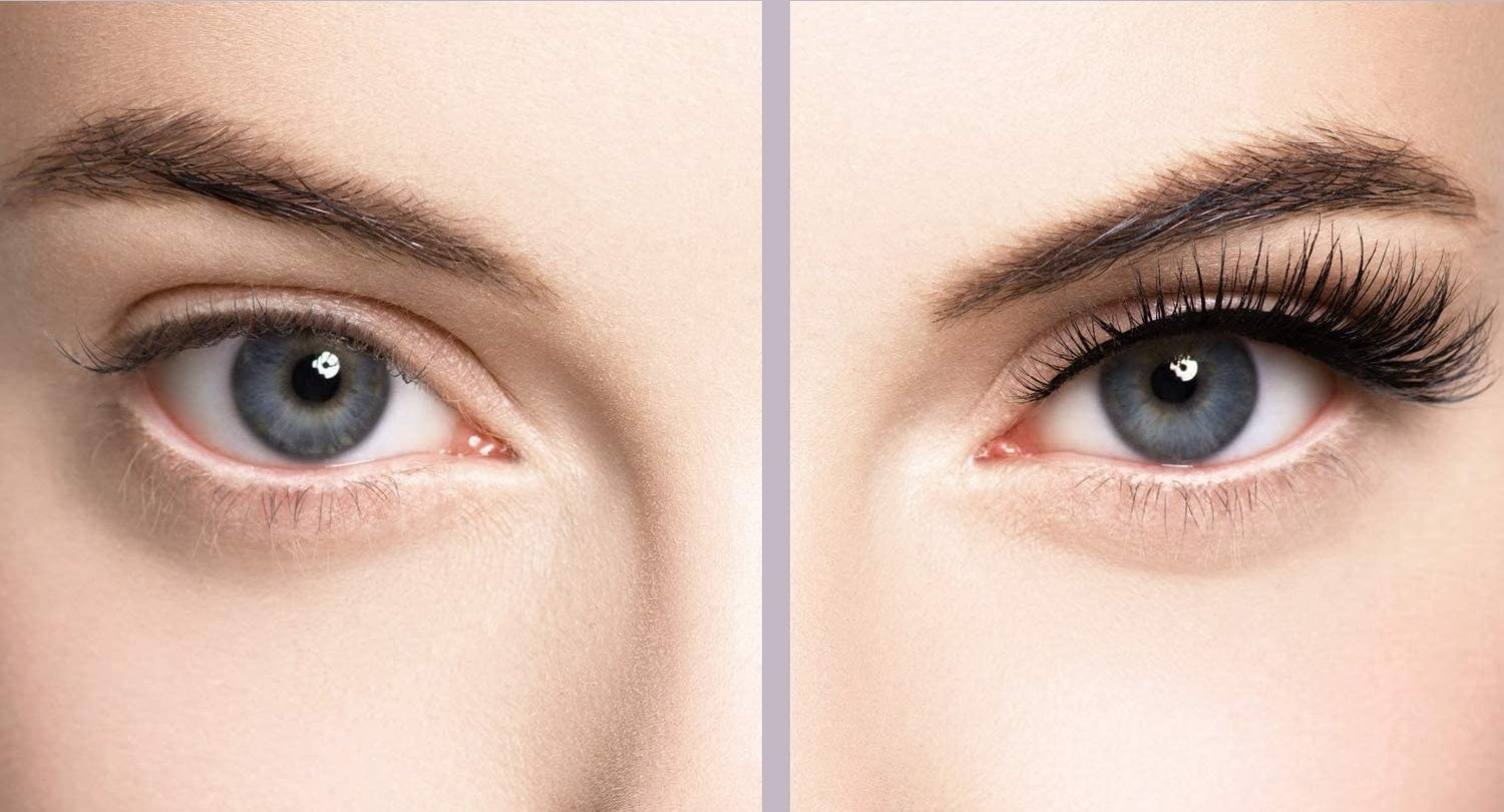 person's eye before and after with the lashes on