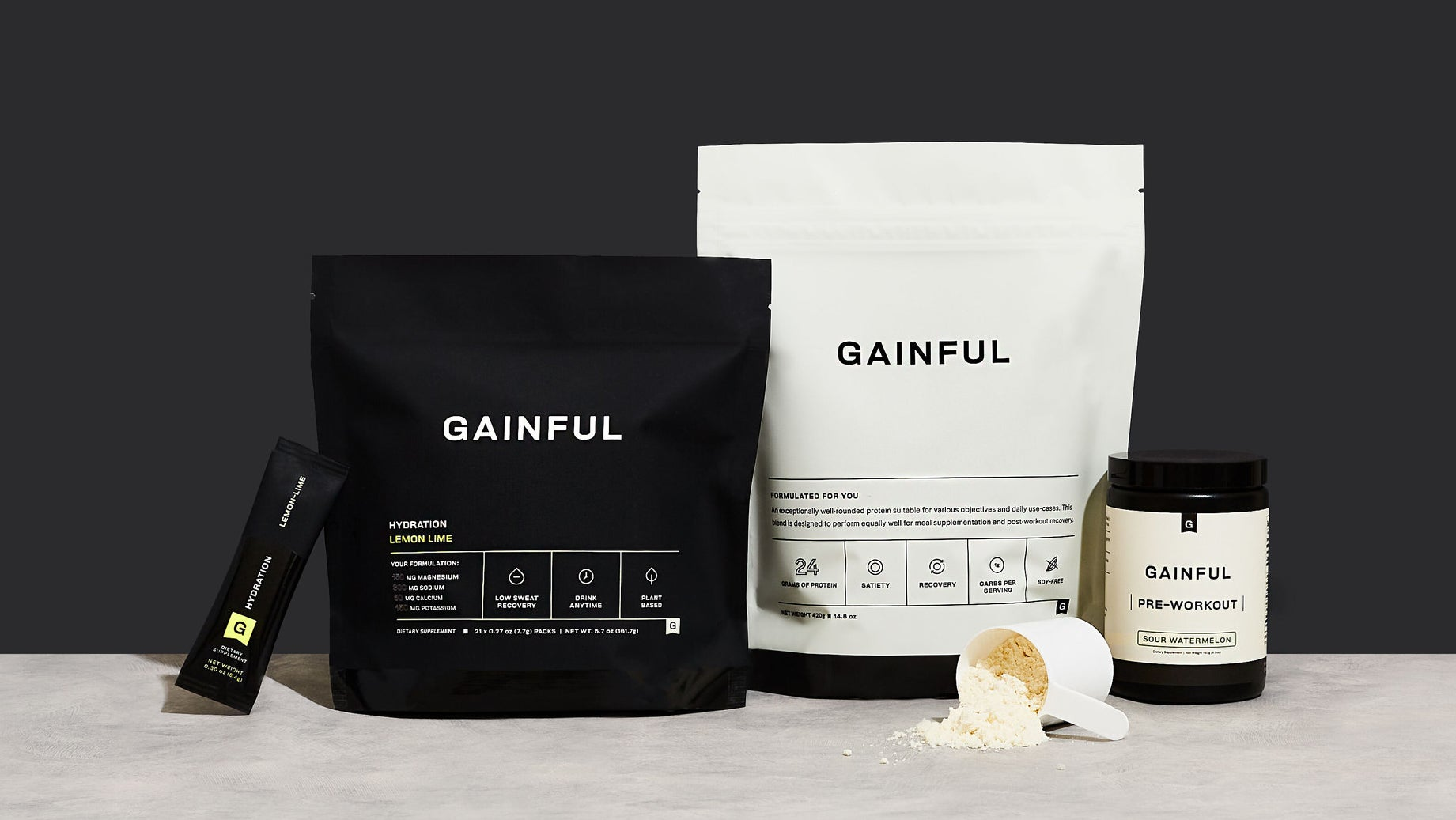 bags of different proteins and pre-workout