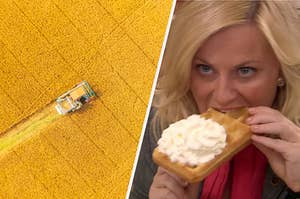 """An overhead shot of a lone tractor plows throw a field and Amy Poehler as Leslie Knope in the show """"Parks and Recreation."""""""