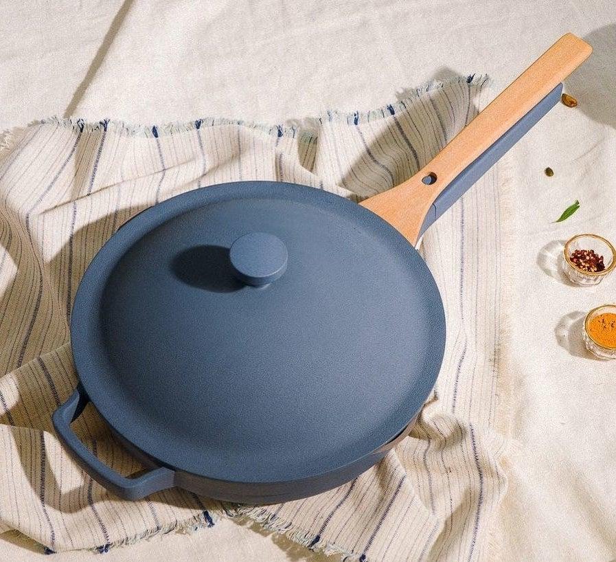 blue pan with beechwood spatula
