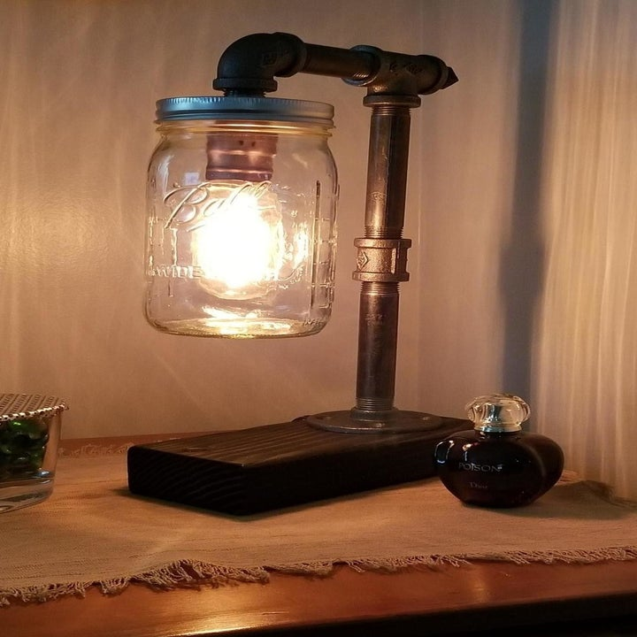 a reviewer photo of the same lamp lit up