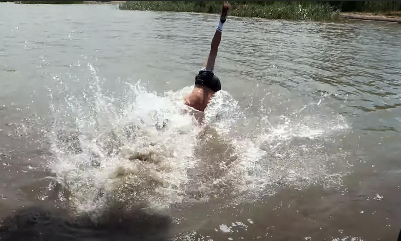 Jeff falling into the lake