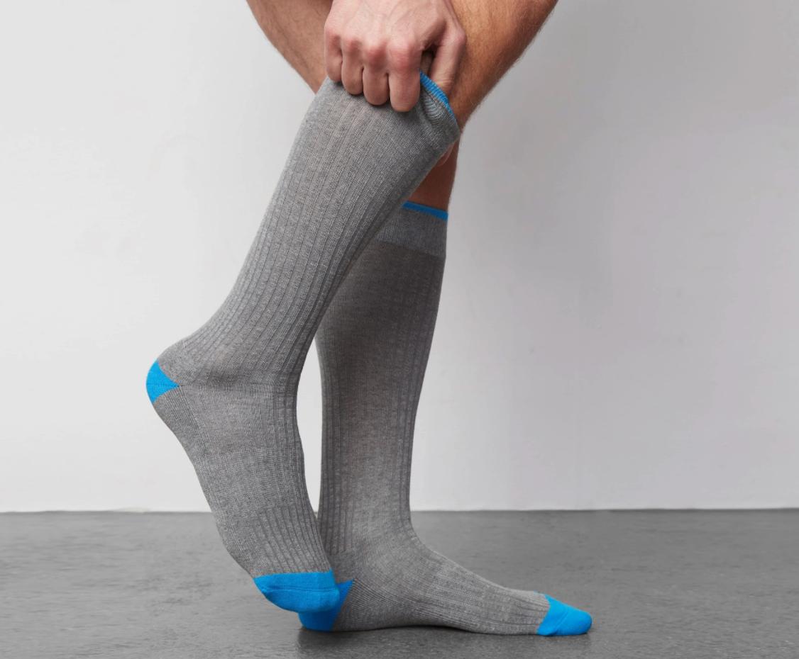 The crew socks in gray shown on feet