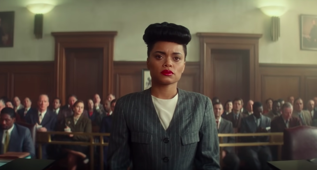 """Andra Day in court in """"The United States Versus Billie Holiday"""""""