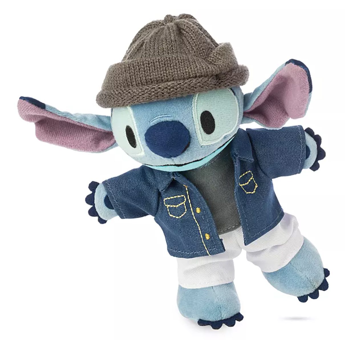 a stitch doll wearing a denim jacket and beanie