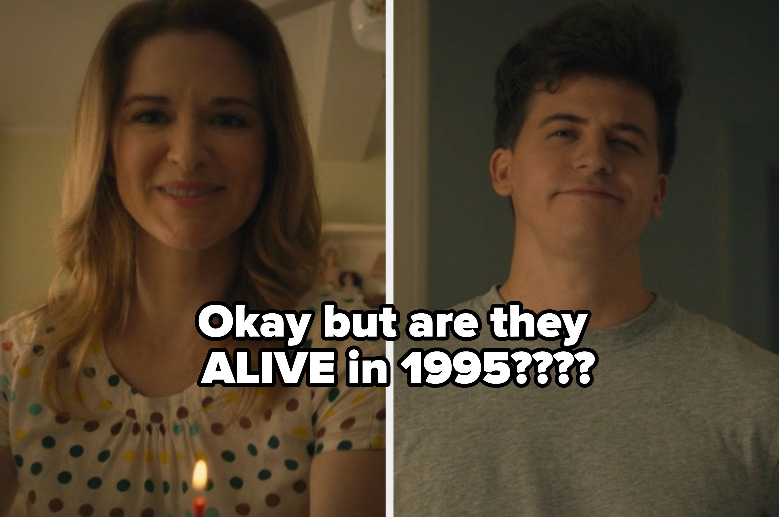 """Jeanette's mom and brother with the caption """"okay but are they alive in 1995?"""""""