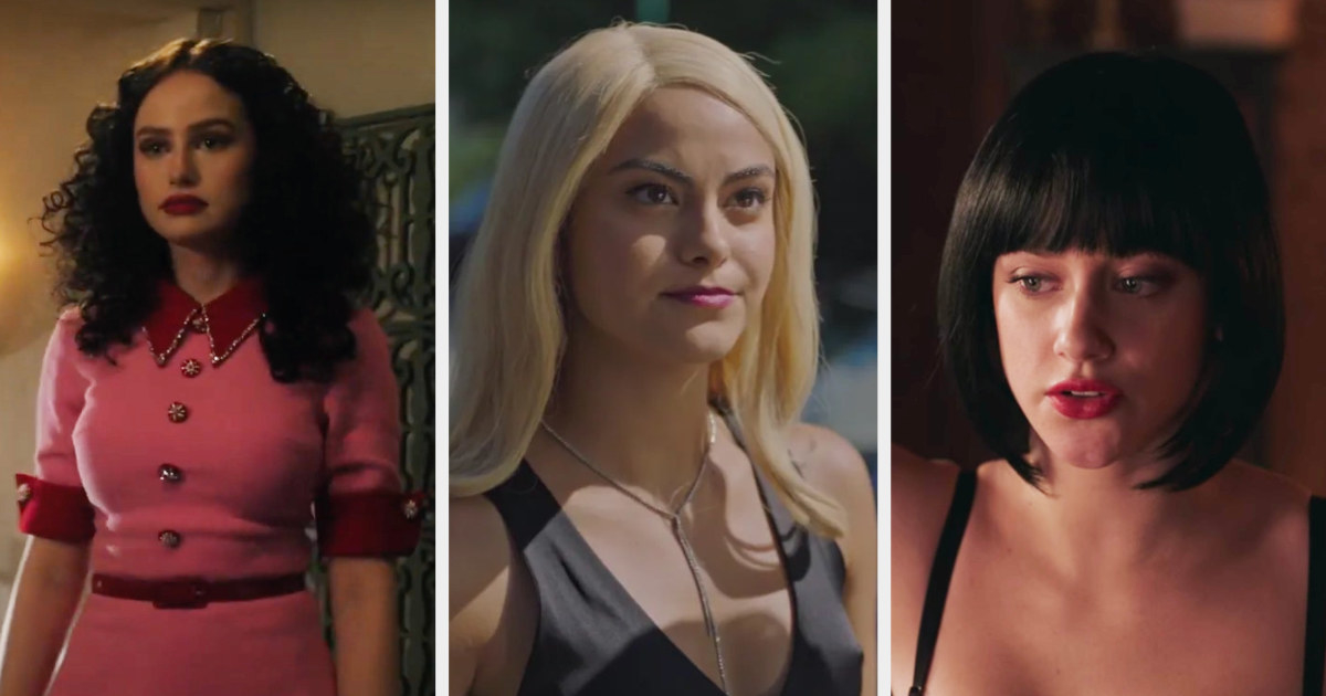 Madelaine Petsch in a black stringy wig, Camila Mendes in obvious long wig, and Lili Reinhart in a terrible black bob wig