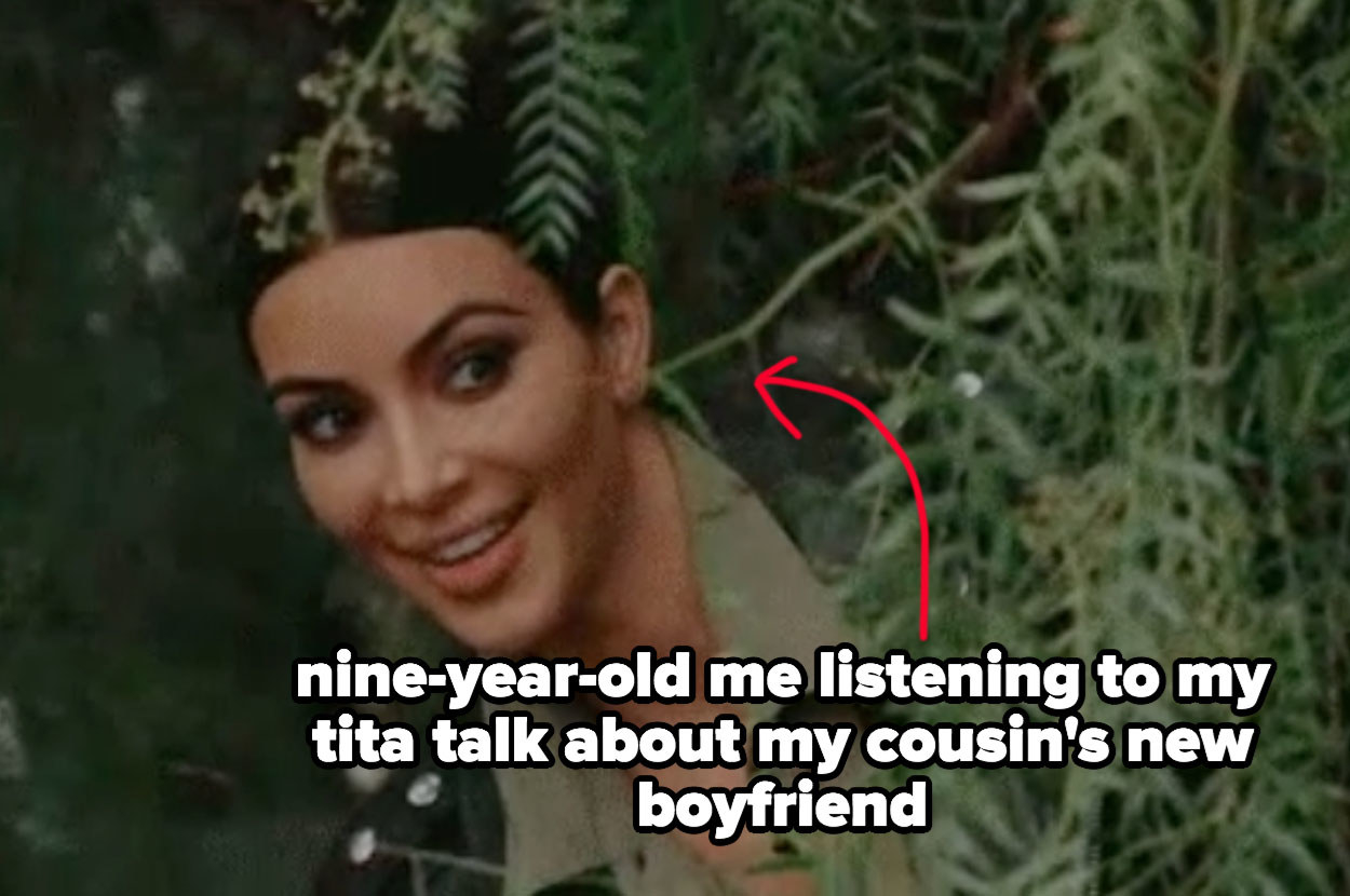 "Kim Kardashian eavesdropping meme captioned ""nine-year-old me listening to my tita talk about my cousin's new boyfriend"""