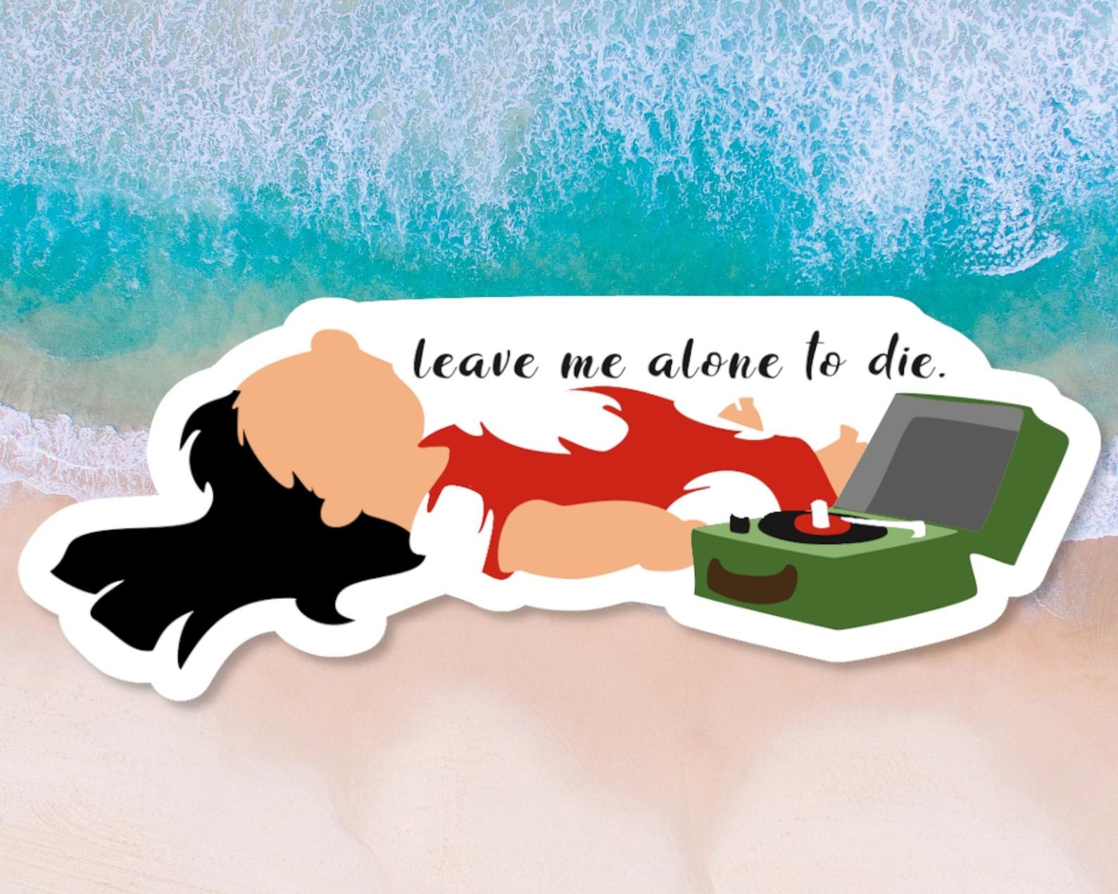 a sticker of lilo laying on the floor next to the record player